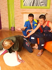 Fresh guy srcubbing the floor on his knees got anal surprise from friends, Added: 2012-04-03 by UCBoys