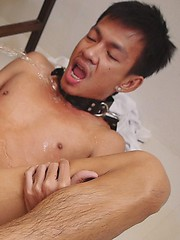 Submissive twink gets his ass filled with steamy yellow piss from his king., Added: 2012-09-10 by Gay Asian Piss
